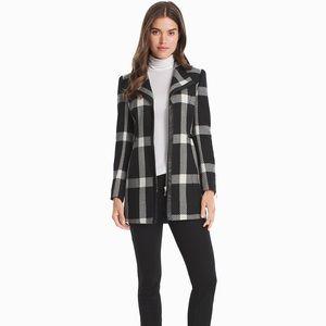 NWOT WH BM Ivory Plaid Faux Leather Trim Zip Coat